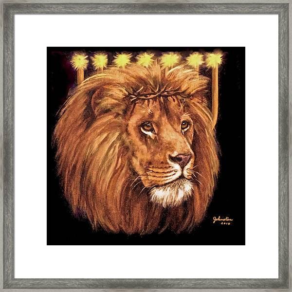 Lion Of Judah - Menorah Framed Print