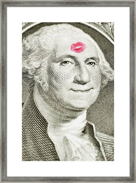 Lipstick Kiss On One Dollar Bill Framed Print