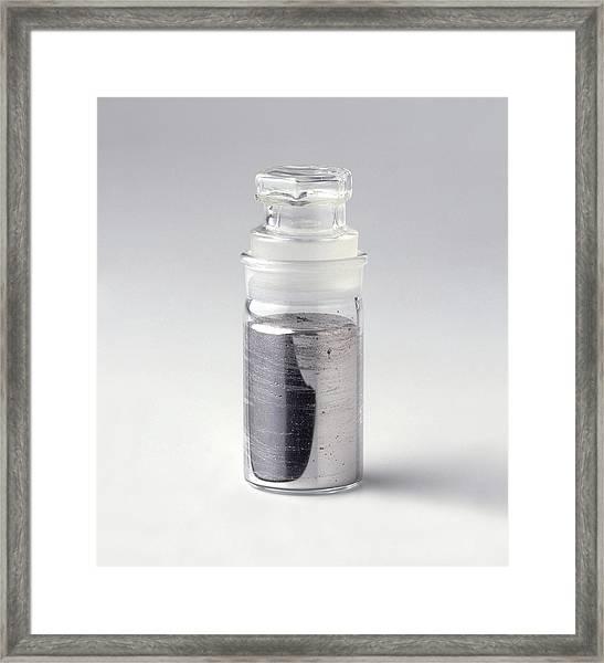 Liquid Mercury In Glass Bottle Framed Print