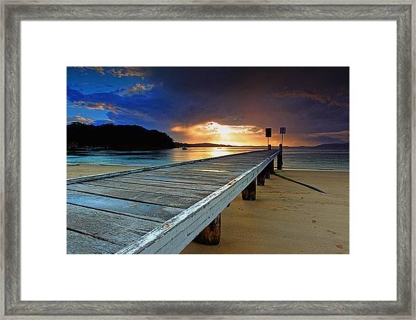 Little Beach Aglow Framed Print