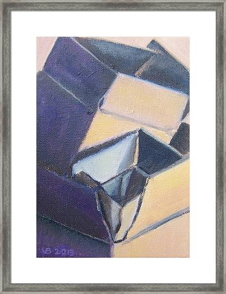 Little Boxes-yellow And Violet Framed Print
