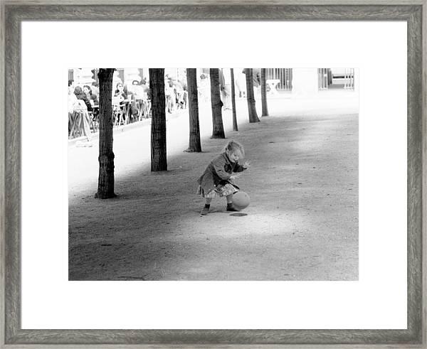 Little Girl With Ball Paris Framed Print