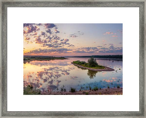 Little Island On Sunset Framed Print
