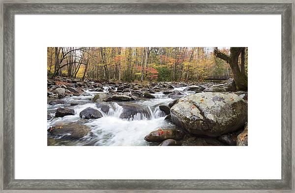 Little Pigeon River Bridge Panorama Framed Print