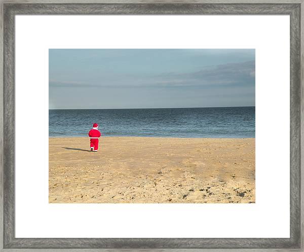 Little Santa On The Beach Framed Print