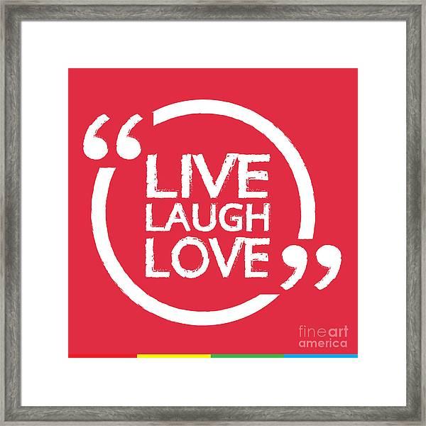 Live Laugh Love Lettering Illustration Framed Print