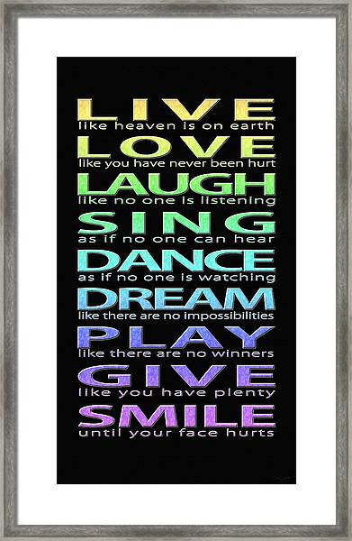 Live Love Laugh Framed Print