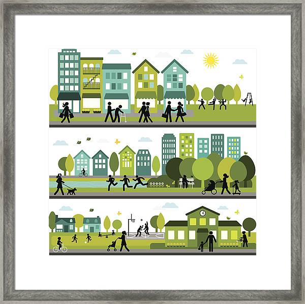 Lively And Active City Framed Print