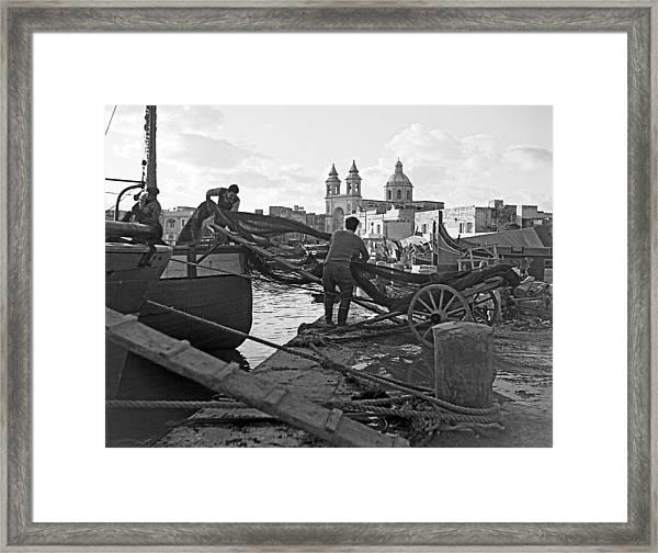 Loading Nets In Malta Framed Print by David Murphy