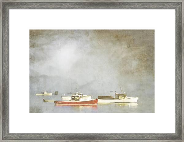 Lobster Boats At Anchor Bar Harbor Maine Framed Print
