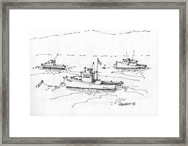 Lobster Boats Monhegan Island 1993 Framed Print