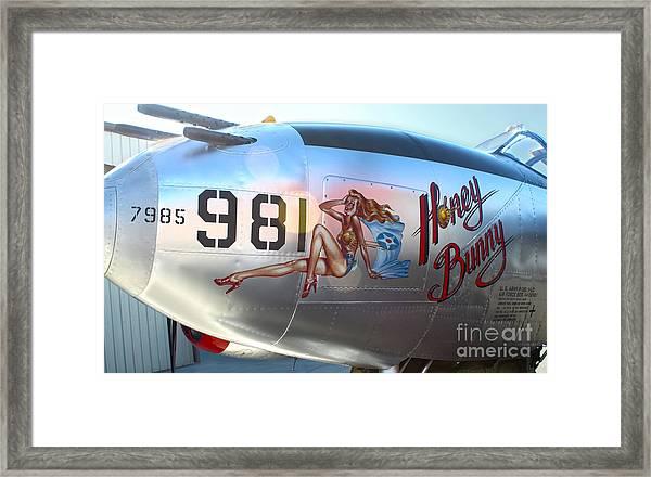 Lockheed P-38l Lightning Honey Bunny Nose Art - 05 Framed Print