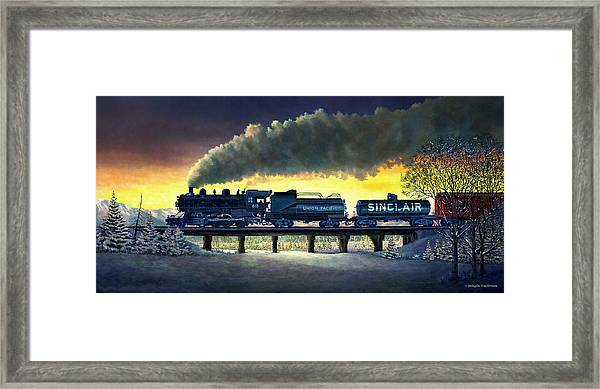 Locomotive In Winter Framed Print