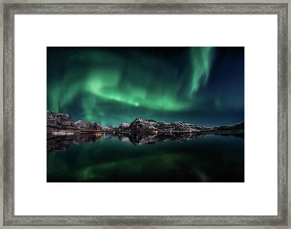 Lofoten Aurora Reflection Framed Print