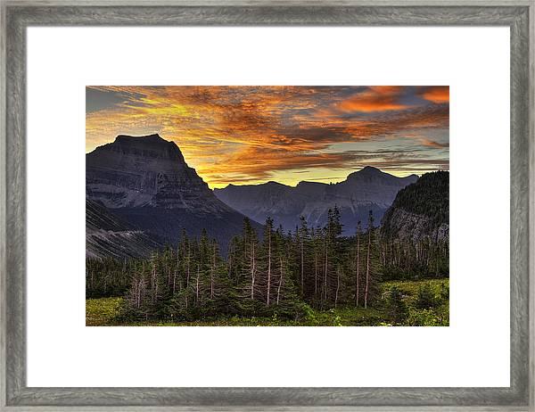 Logan Pass Sunrise Framed Print