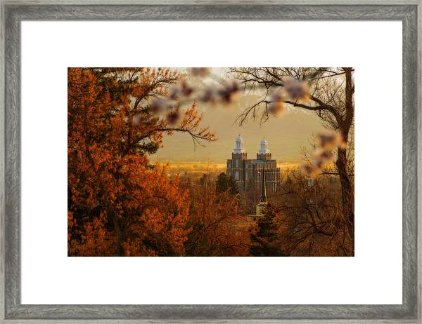 Framed Print featuring the photograph Logan Temple by Dustin  LeFevre