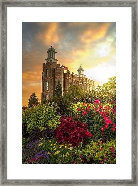 Framed Print featuring the photograph Logan Temple Garden by Dustin  LeFevre