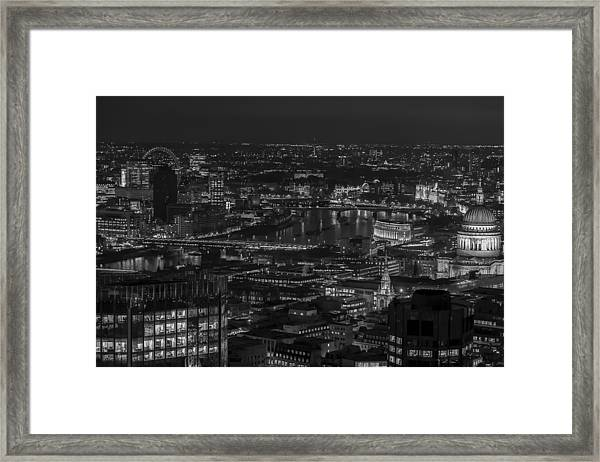 London City At Night Black And White Framed Print