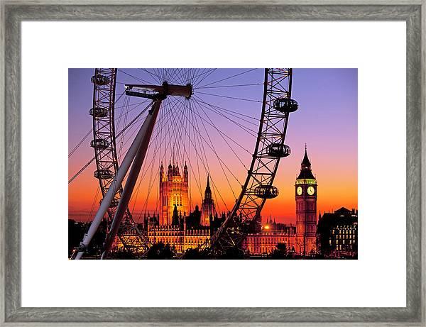 London Eye And Big Ben At Dusk Framed Print by Scott E Barbour