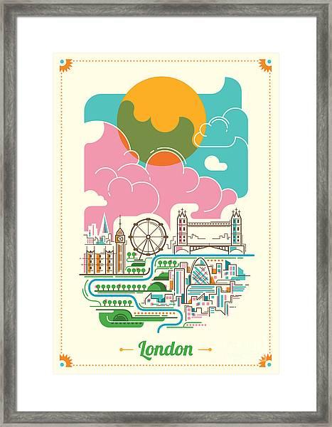 London Illustration In Color. Vector Framed Print