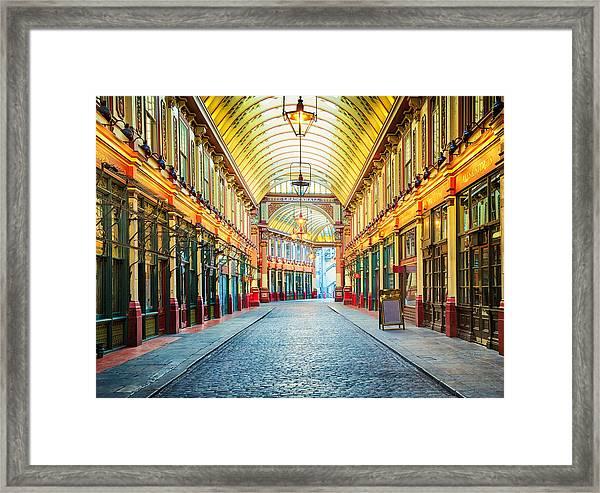 London Leadenhall Hall Market Street Arcade Framed Print by NicolasMcComber