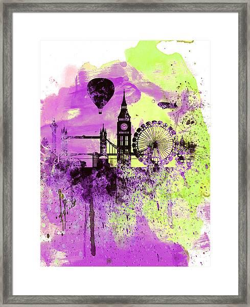 London Skyline Watercolor 1 Framed Print