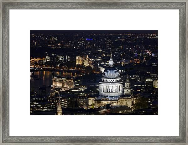 London St Pauls At Night Colour Framed Print