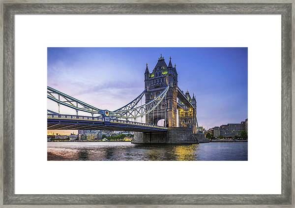London Tower Bridge Illuminated At Sunset Over River Thames Panorama Framed Print by fotoVoyager