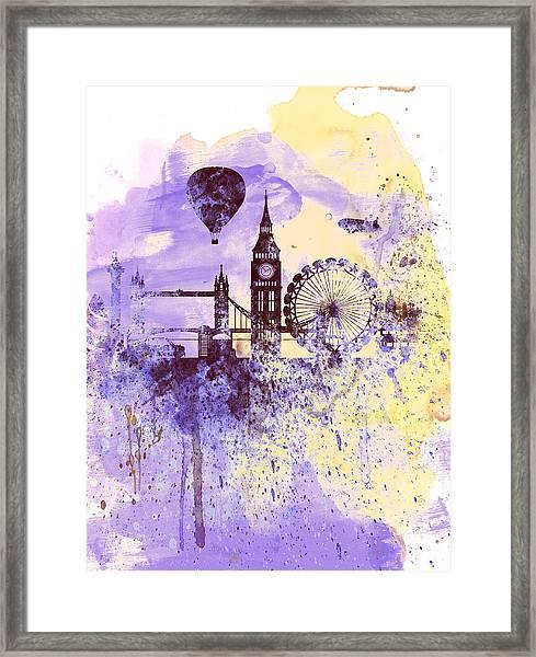London Watercolor Skyline Framed Print