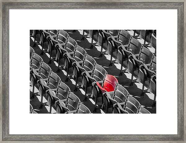 Framed Print featuring the photograph Lone Red Number 21 Fenway Park Bw by Susan Candelario