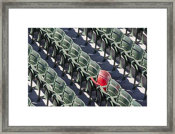 Framed Print featuring the photograph Lone Red Number 21 Fenway Park by Susan Candelario