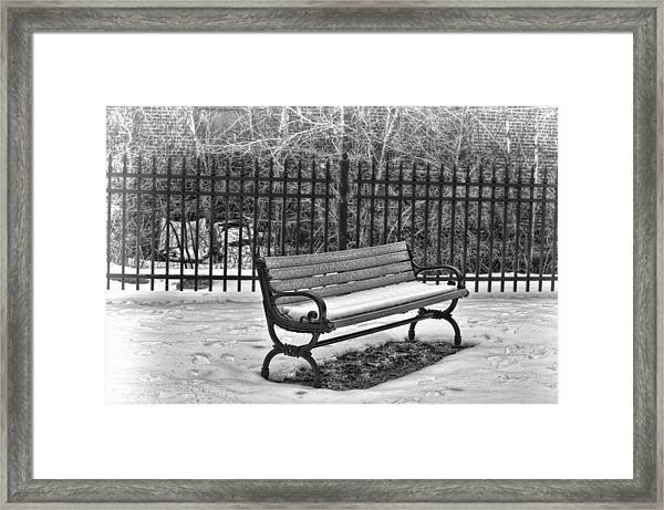 Framed Print featuring the photograph Lonely Bench In Winter by Beth Sawickie