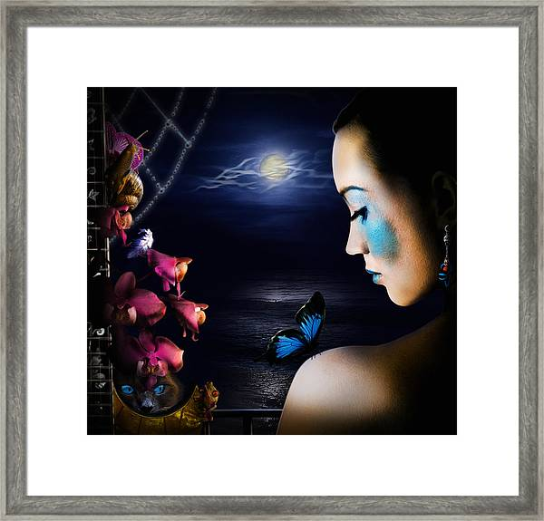 Lonely Blue Princess And The Villains Framed Print