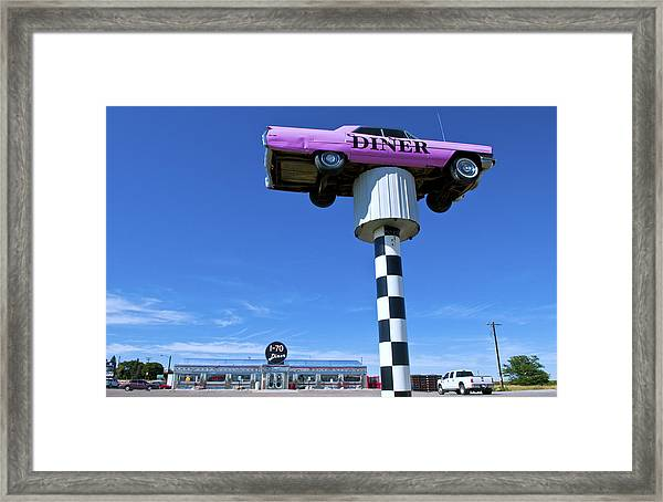 Lonely Diner With Pink Cadillac Framed Print