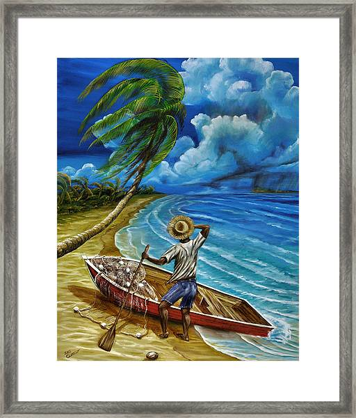 Lonely Fisherman Framed Print