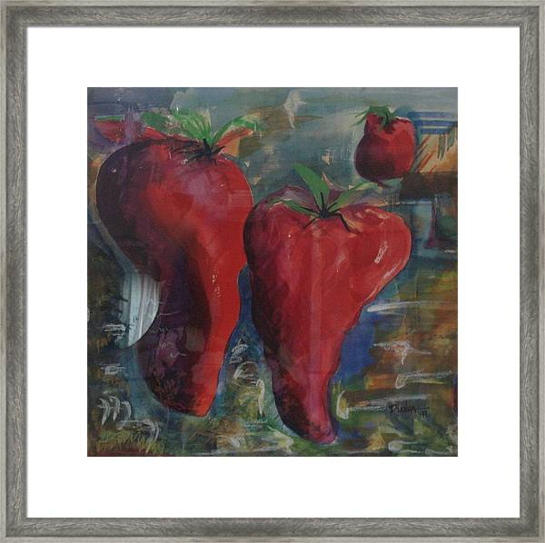 Lonely Peppers Framed Print by Bianca Romani