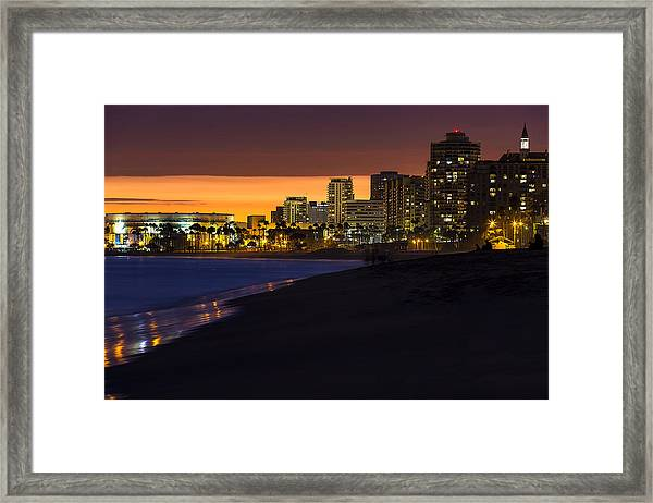 Long Beach Comes Alive At Dusk By Denise Dube Framed Print