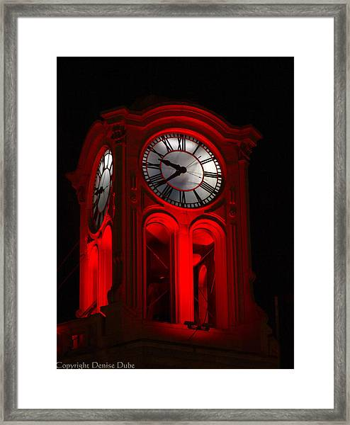 Long Beach Pine Ave. Clock Tower In Red Framed Print