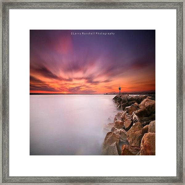 Long Exposure Sunset Shot At A Rock Framed Print by Larry Marshall