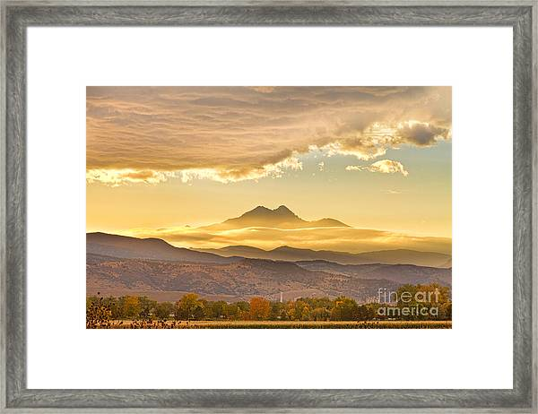 Longs Peak Autumn Sunset Framed Print