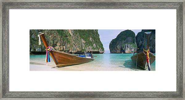 Longtail Boats Moored On The Beach Framed Print