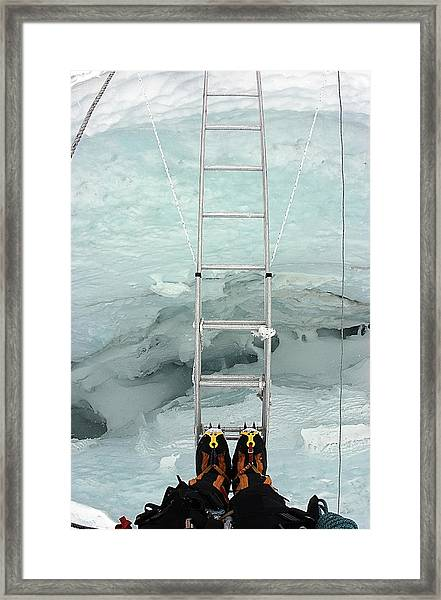 Looking Into Crevasse On Mount Everest Framed Print