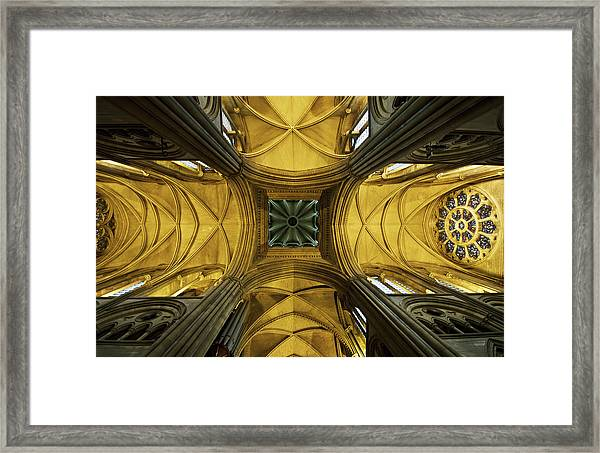 Looking Up At A Cathedral Ceiling Framed Print