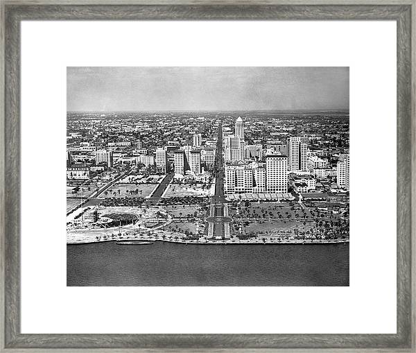 Looking Up Flagler Street At Downtown Miami Framed Print