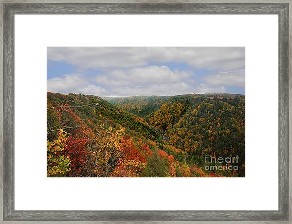 Looking Upriver At Blackwater River Gorge In Fall From Pendleton Point Framed Print