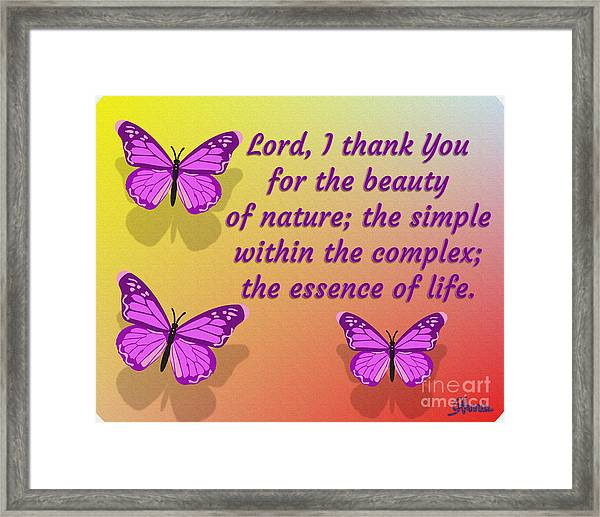 Lord I Thank You For The Beauty Of Nature Framed Print