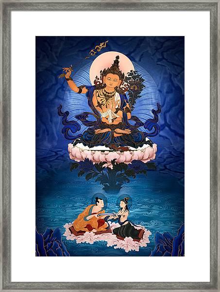 Lord Manjushri - Arya Nargajuna And The Naga Queen Framed Print by Ben Christian