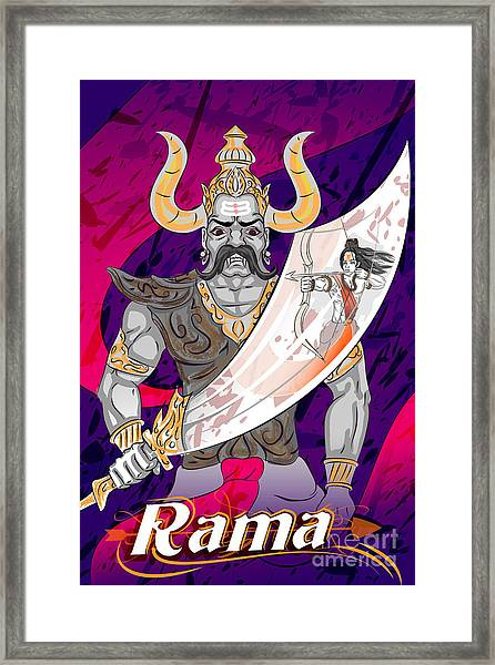 Lord Rama With Demon Ravana In Happy Framed Print