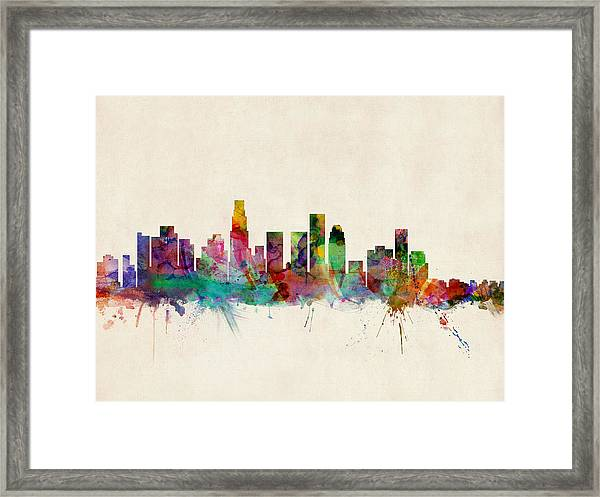 Los Angeles City Skyline Framed Print