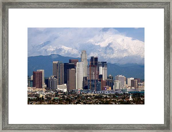 Los Angeles Skyline With Snowy Mountains Framed Print